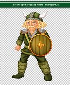 Illustration of a male viking with a shield