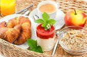 Breakfast With Coffee, Croissants And Orange Juice
