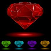Colorful diamond set isolated on black background.
