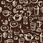 Seamless Hand Drawn Dark Pattern With Coffee And Tea Cups And Sweets