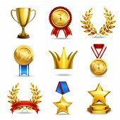 picture of prize  - Award icons set of trophy medal winner prize champion cup isolated vector illustration - JPG