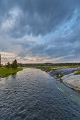 Firehole River After Sunset Yellowstone