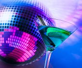 Blue Cocktail With Sparkling Disco Ball Background With Space For Text