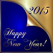 Vector illustration of 2015 new year greeting with curled corner