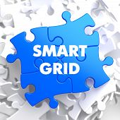 picture of smart grid  - Smart Grid on Blue Puzzle on White Background - JPG