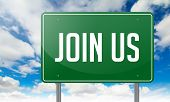 Join Us on Green Highway Signpost.