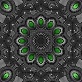 Artistic stylish metallic kaleidoscope illustration in steampunk style