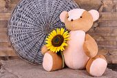 Toy bear and vase of field flowers on sackcloth on wooden wall background