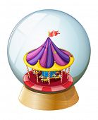 Illustration of a crystal ball with a kiddie ride inside on a white background