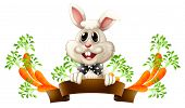 Illustration of an empty template with a smiling rabbit on a white background