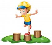 Illustration of a smiling boy playing with the stumps on a white background