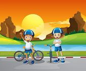 Illustration of the two kids with their bikes standing at the road near the river