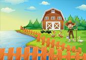 Illustration of a farmer feeding his ducks