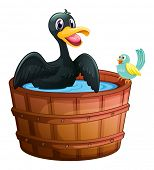 Illustration of a duck and a bird at the bathtub on a white background