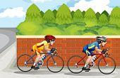 Illustration of the two men biking