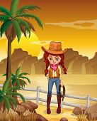 Illustration of a cowgirl at the dessert