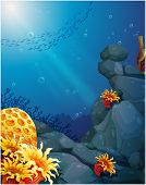 Illustration of the corals near the rocks and the school of fish