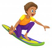 Illustration of a boy surfing on a white background