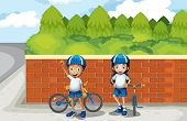 Illustration of the two young bikers at the street