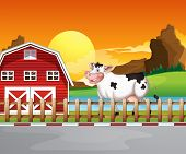 Illustration of a cow beside the wooden barnhouse