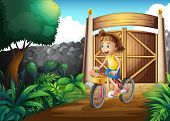 Illustration of a child biking at the yard