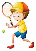 Illustration of a young man playing tennis on a white background