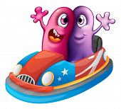 Illustration of the two monsters riding a car on a white background