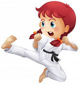 Illustration of an energetic little girl doing karate on a white background