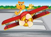 Illustration of a boastful tiger riding a plane