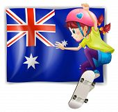 Illustration of a girl skateboarding in front of the Australian flag on a white background