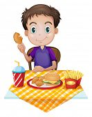 Illustration of a young boy eating in a fastfood restaurant on a white background
