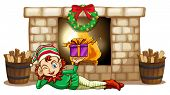 Illustration of an elf in front of the fireplace on a white background