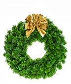 Christmas Wreath With Golden Ribbon Bow Decoration