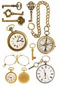 Golden Vintage Accessories. Antique Keys, Clock, Glasses, Compass