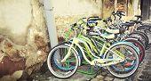 Vintage bicycles on parking
