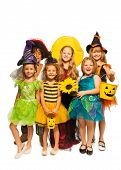 Group of kids in Halloween costumes