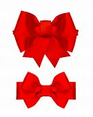 Red Silk Ribbon Bow Isolated On White