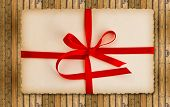 Vintage Gift Card With Red Ribbon