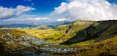 Landscape with the rocky Fagaras mountains  in summer , view from Transalpina road, Romania
