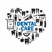 stock photo of teeth  - Dental care symbols in the shape of heart - JPG