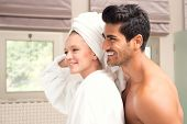 Attractive couple after Morning Shower