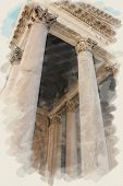 art watercolor background on paper texture with european antique town, Italy, Rome. Details arcade o
