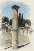 art watercolor background on paper texture with european antique town, Pompeii. One column