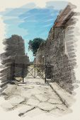 art watercolor background on paper texture with european antique town, Pompeii. Street