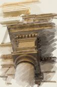 art watercolor background on paper texture  with european antique town, Italy, Rome. Detail of class