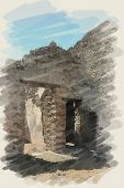 art watercolor background on paper texture with european antique town, Pompeii. Ruins