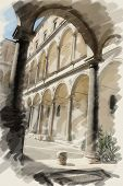 art watercolor background on paper texture with european antique town, Italy, Rome. Patio