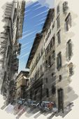 art watercolor background on paper texture with european antique town, Italy, Florence. Street