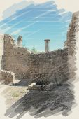 art watercolor background on paper texture with european antique town, Pompeii. Ruins of buildings