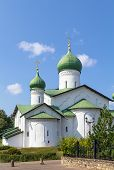 stock photo of epiphany  - Church of the Epiphany on Zapskovye was build in 1496 in Pskov Russia - JPG